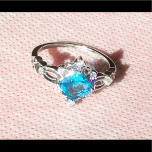 New silver blue sapphire ring size 10
